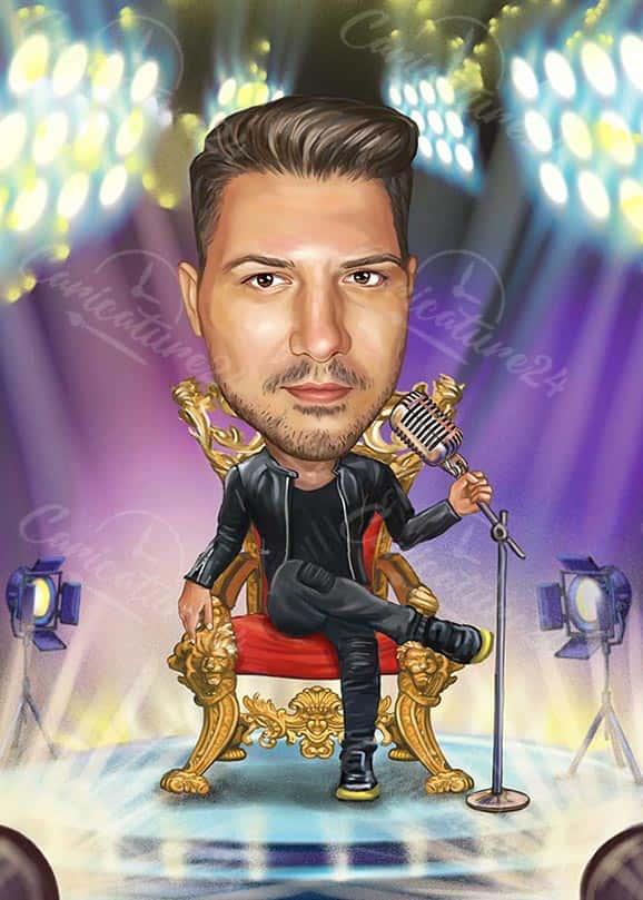 Карикатура за певец на трон