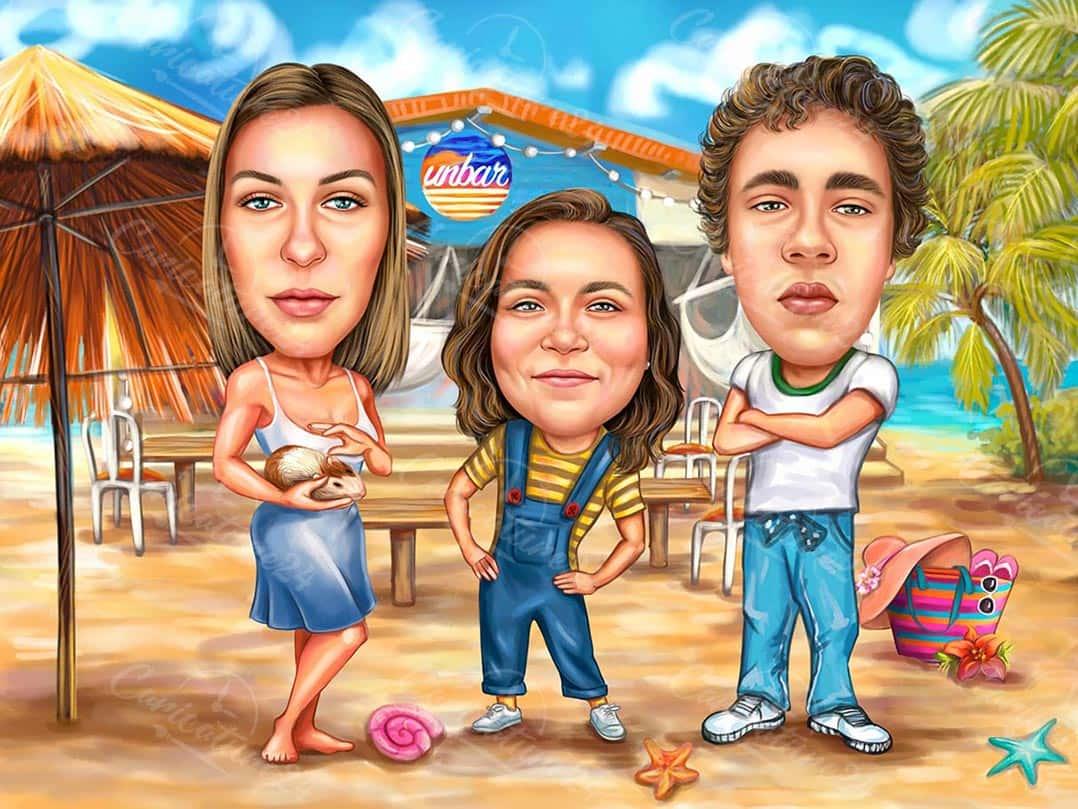 Карикатура за приятели на плажа