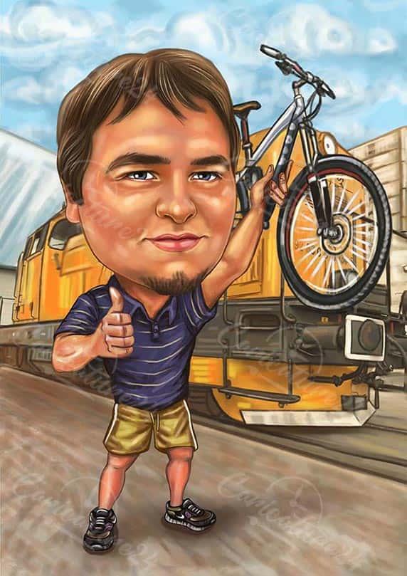Карикатура за пътешественик с колело