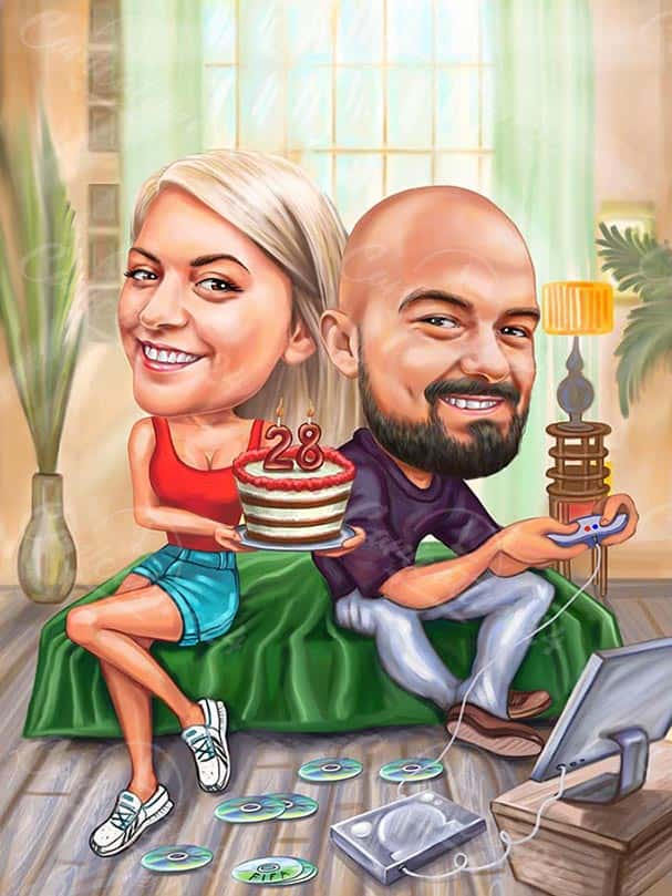 Карикатура за рожден ден на геймър