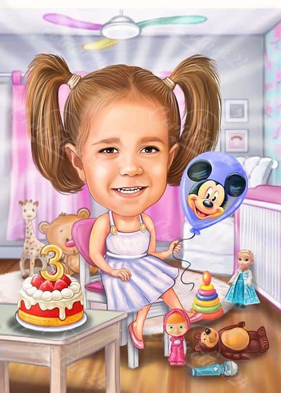 Карикатура за рожден ден на момиченце