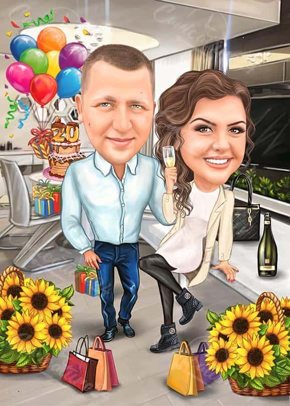 Карикатура за рожден ден с цветя