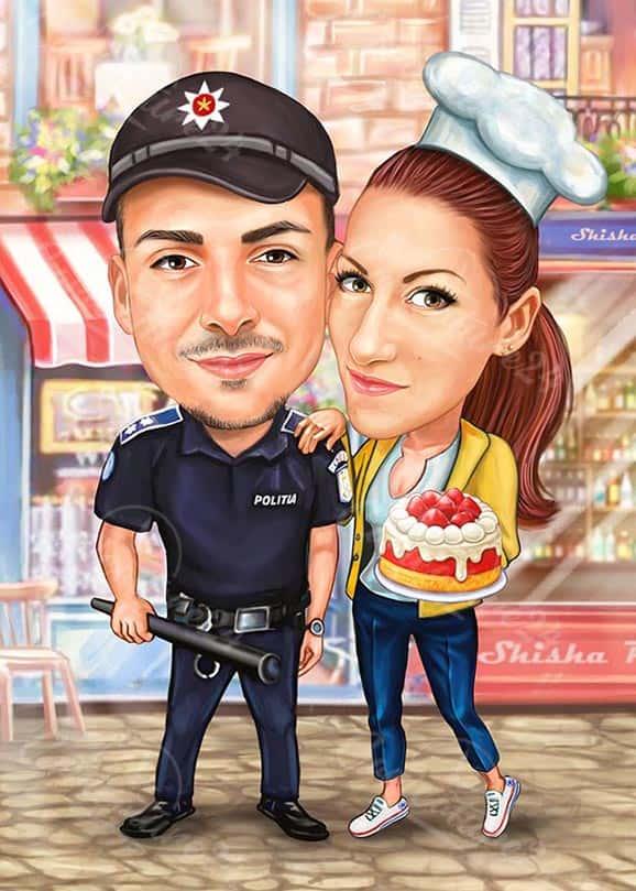 Карикатура за рожден ден с торта
