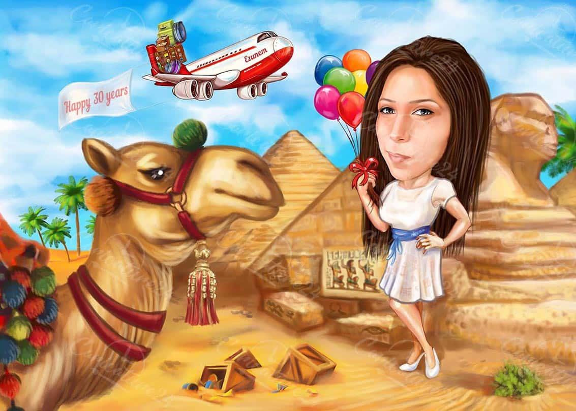 Карикатура за рожден ден в Египет
