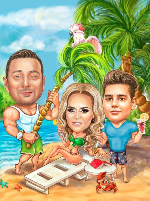 Карикатура за семейство на плажа
