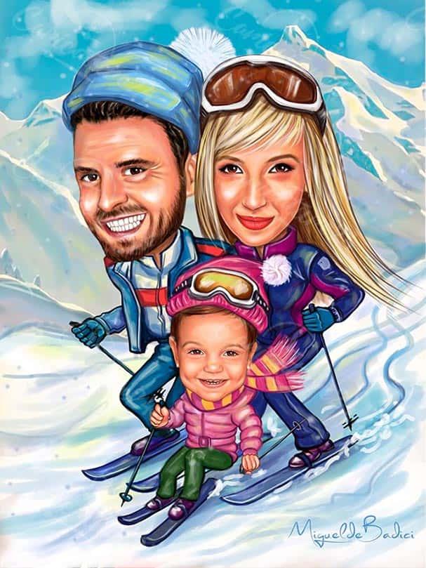 Карикатура за семейство сноубордисти