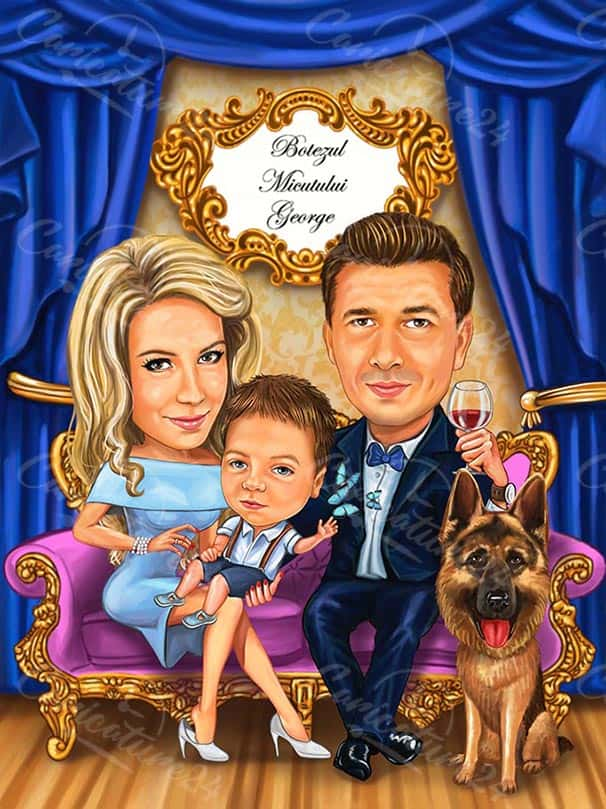 Карикатура за шефа със семейството и куче