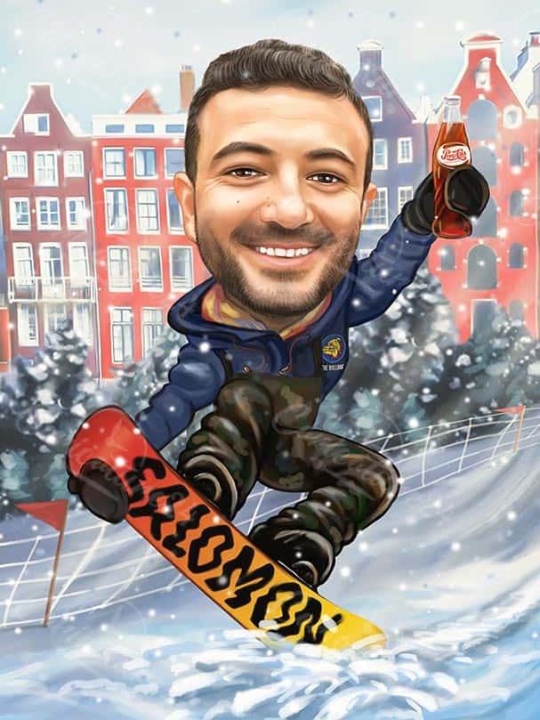 Карикатура за сноубордист