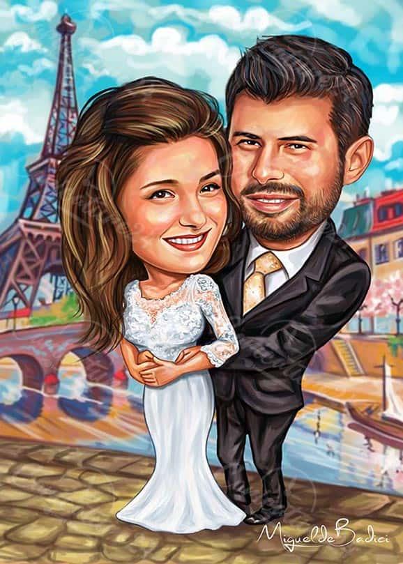 Карикатура за сватба Париж