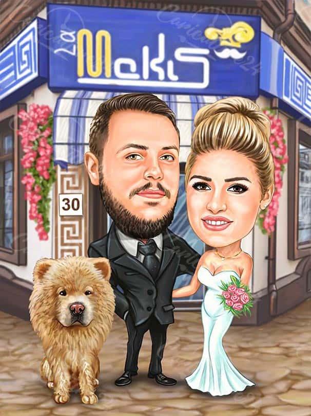 Карикатура за сватба с куче