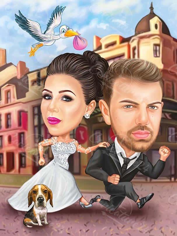 Карикатура за сватба с щъркел