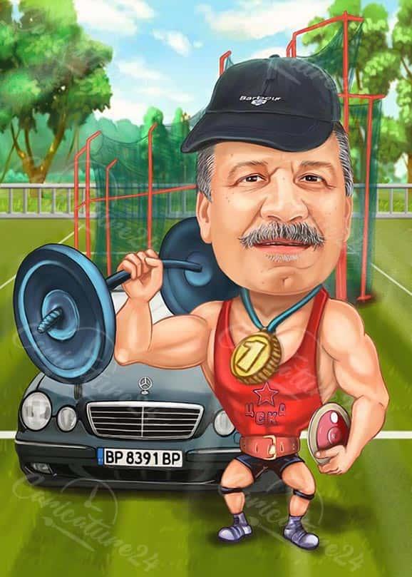Карикатура за треньор с кола