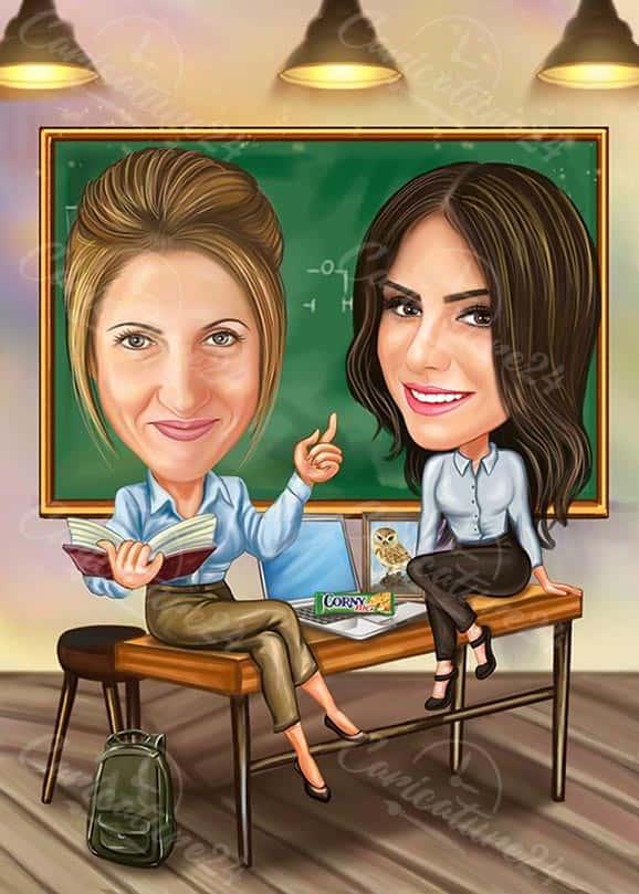 Карикатура за учител и ученик