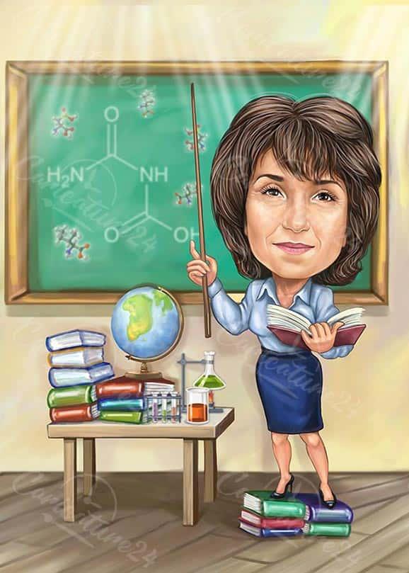 Карикатура за учител по химия