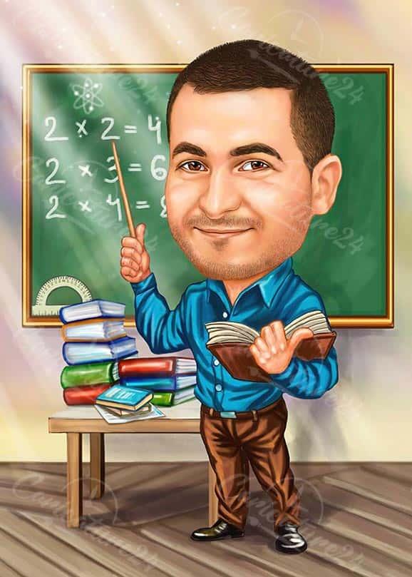 Карикатура за учител по математика