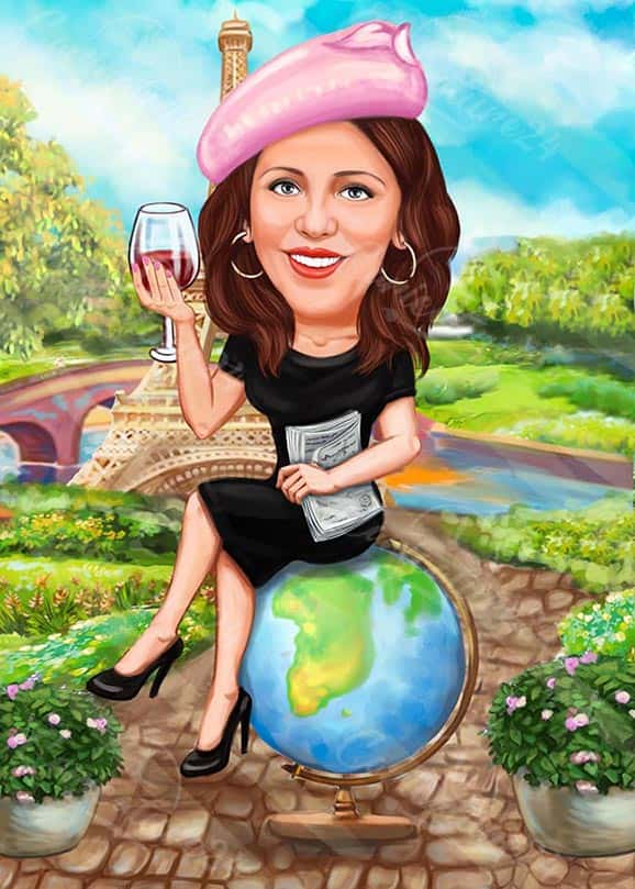 Карикатура за учителка по география с глобус