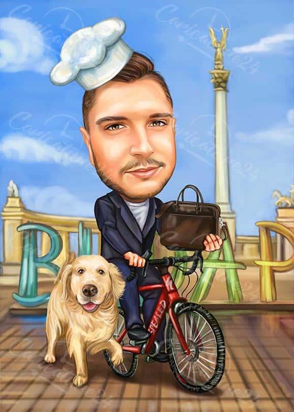 Карикатура за велосипедист - готвач