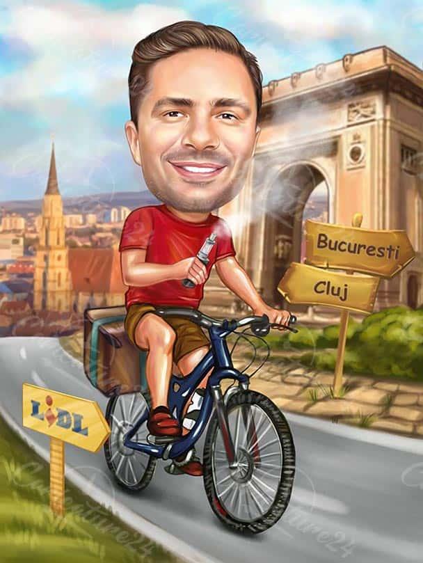 Карикатура за велосипедист