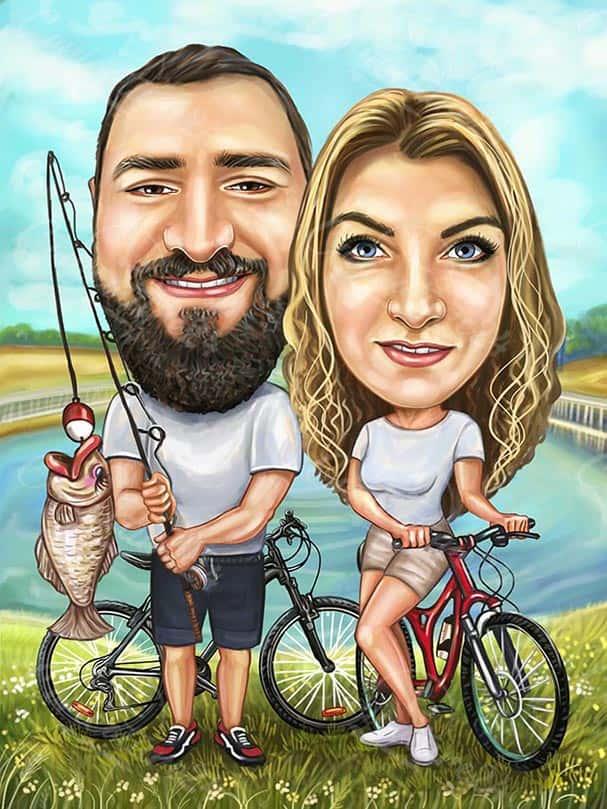 Карикатура за велосипедисти рибари