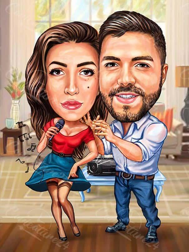 Карикатура за влюбена двойка музиканти