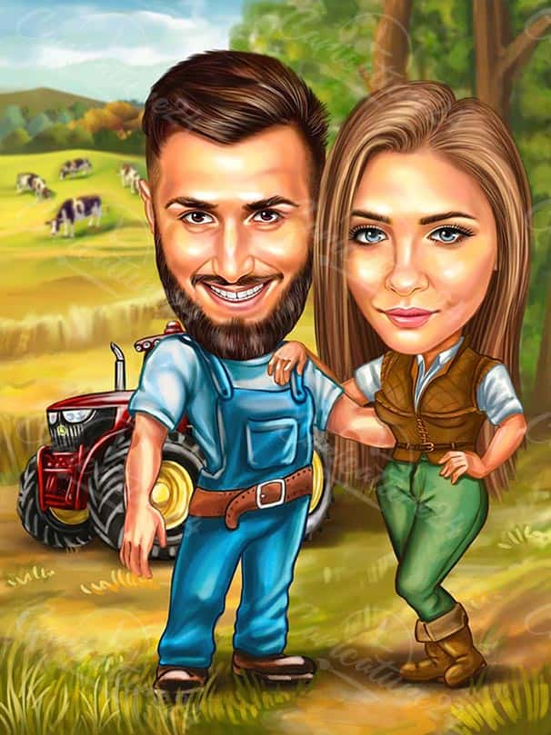 Карикатура за влюбени фермери