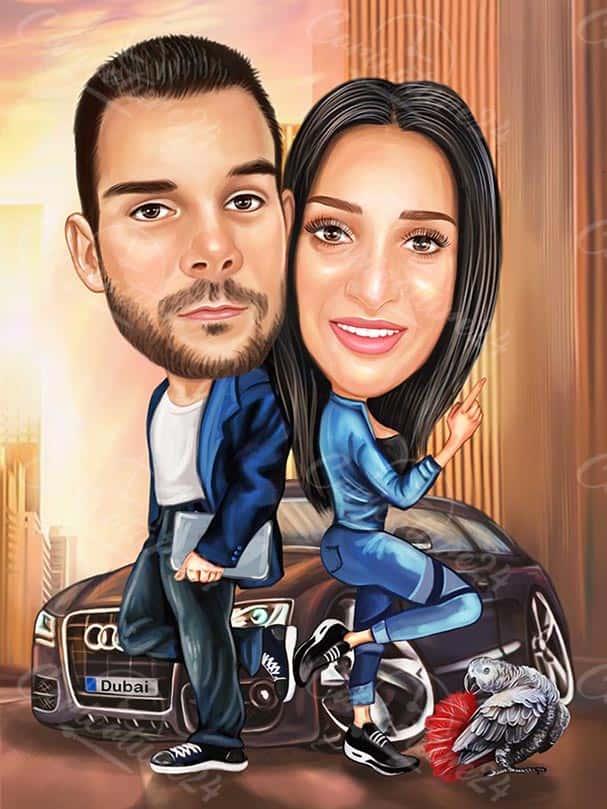 Карикатура за влюбени с кола