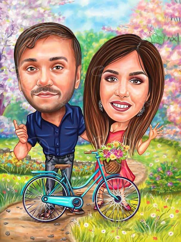 Карикатура за влюбени с колело