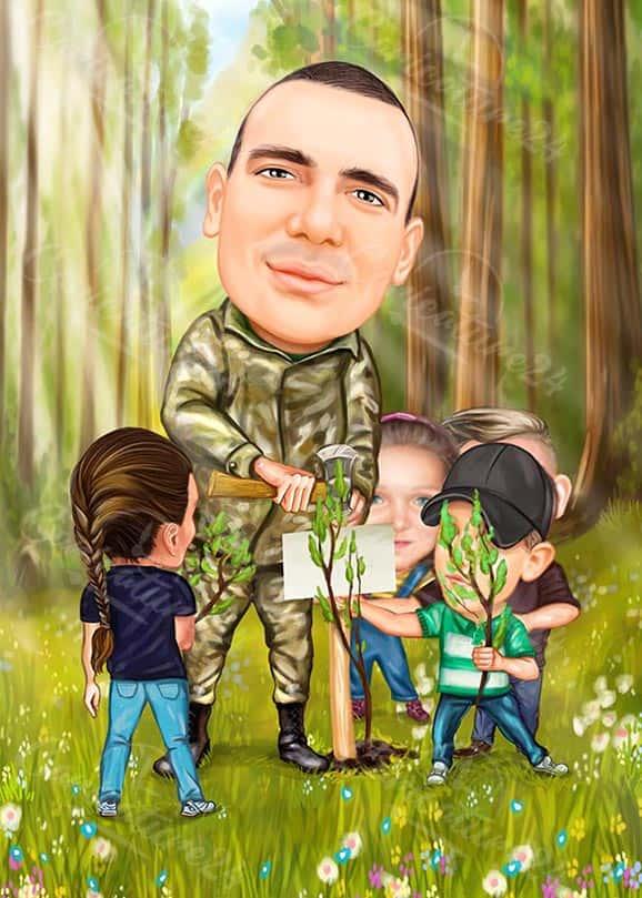 Карикатура за военен с деца