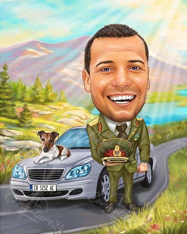 Карикатура за военен с кола