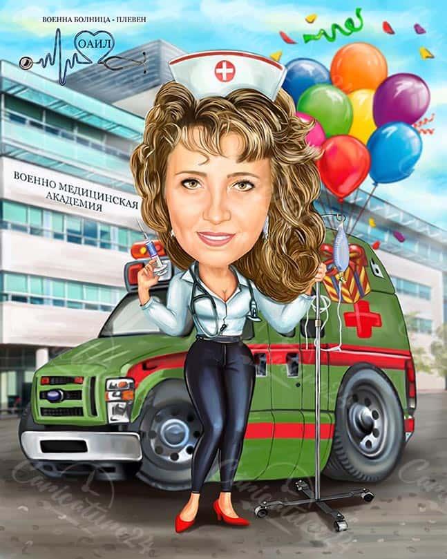 Карикатура за юбилей на лекар