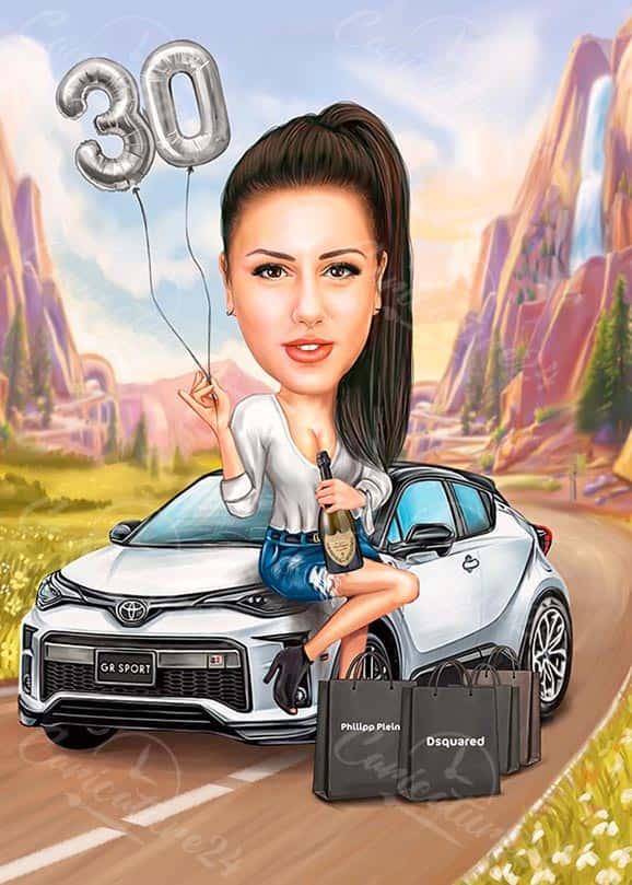 Карикатура за юбилей на жена с кола