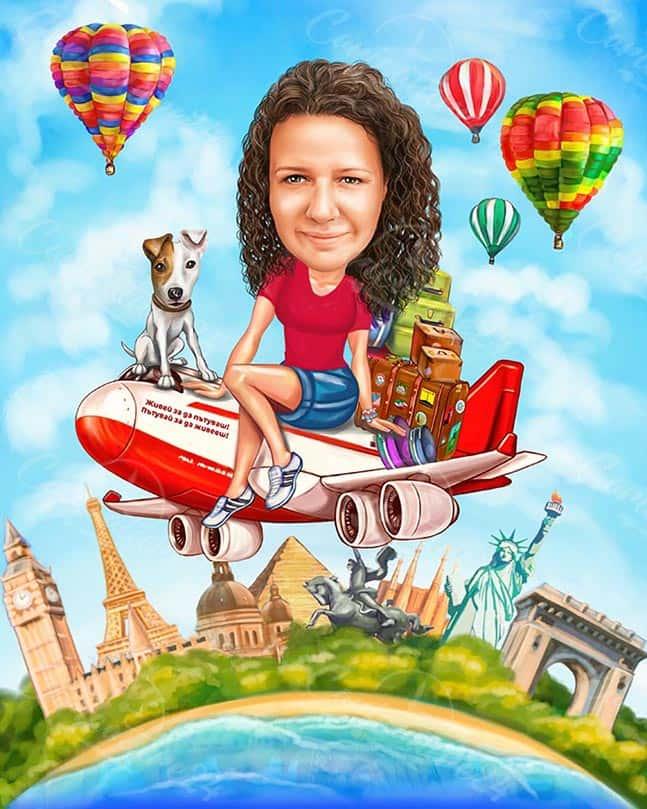 Карикатура за юбилей на жена със самолет