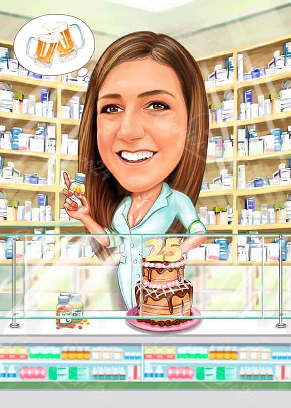 Карикатура за жена фармацевт с торта