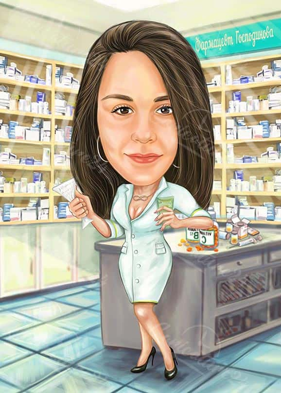 Карикатура за жена фармацевт в аптека