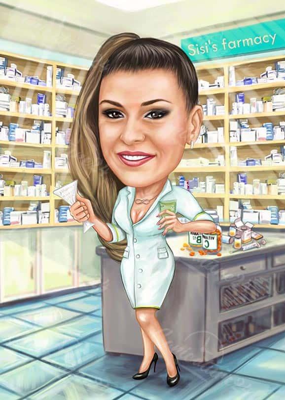 Карикатура за жена фармацевт