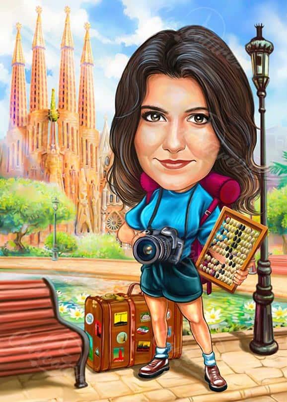 Карикатура за жена фотограф
