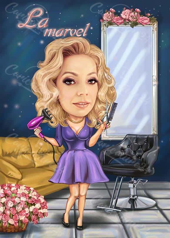 Карикатура за жена фризьор