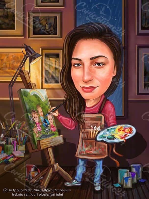 Карикатура за жена художничка