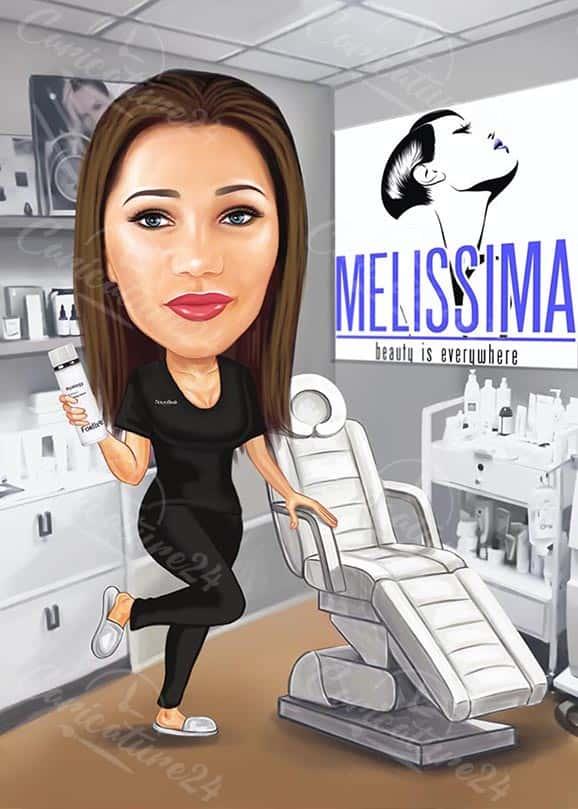 Карикатура за жена козметик