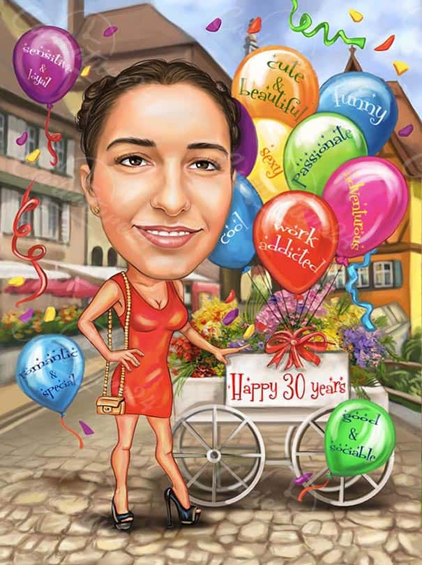 Карикатура за жена на 30 години с балони