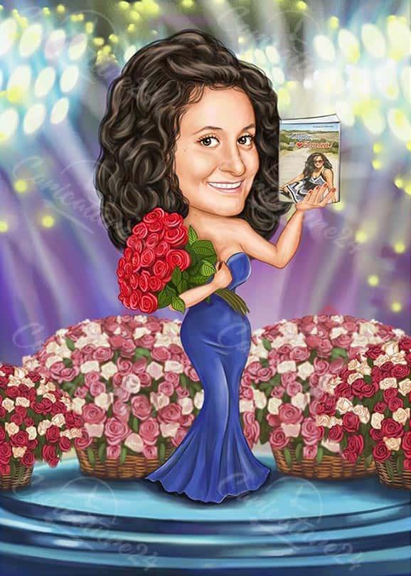 Карикатура за жена на сцена