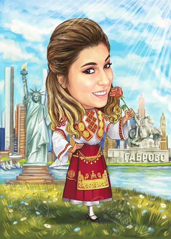 Карикатура за жена с народна носия
