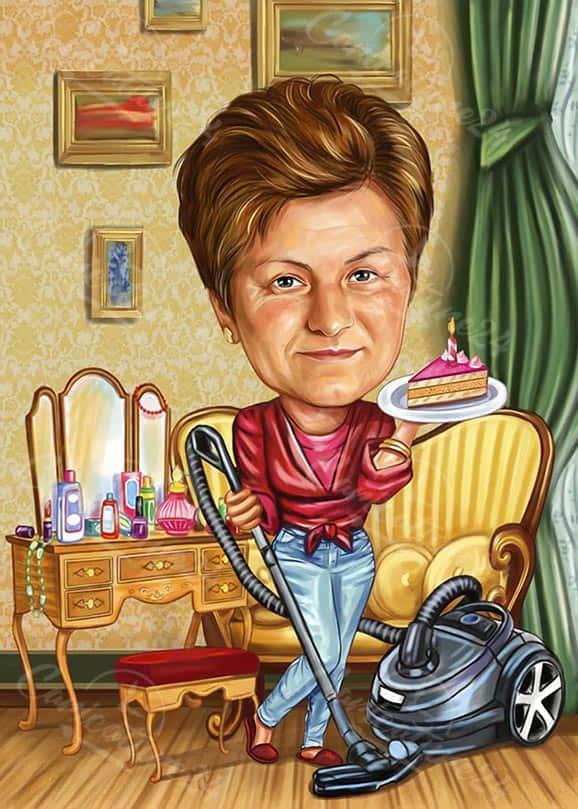 Карикатура за жена с торта