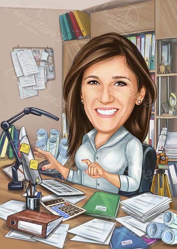 Карикатура за жена счетоводител в офис