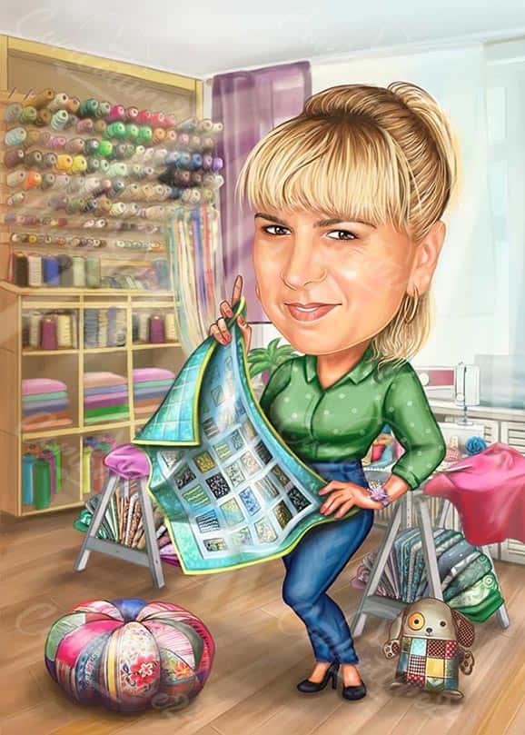 Карикатура за жена шивач