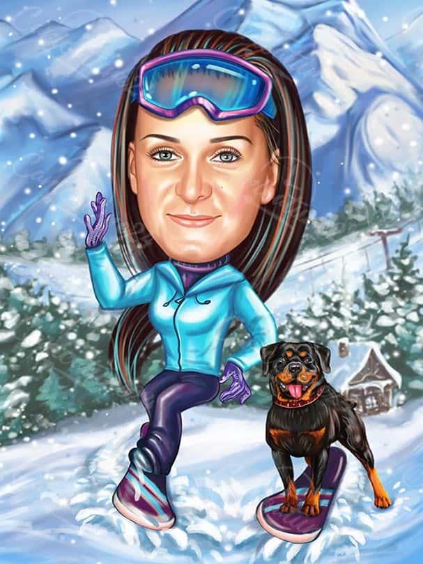 Карикатура за жена сноубордист с куче