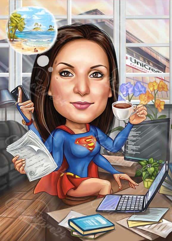 Карикатура за жена Superhero