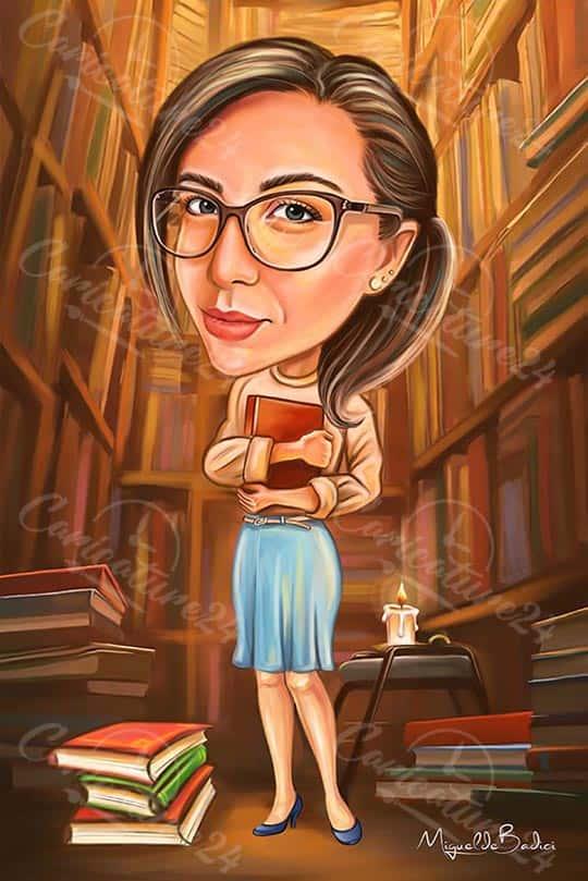 Карикатура за жена в библиотека