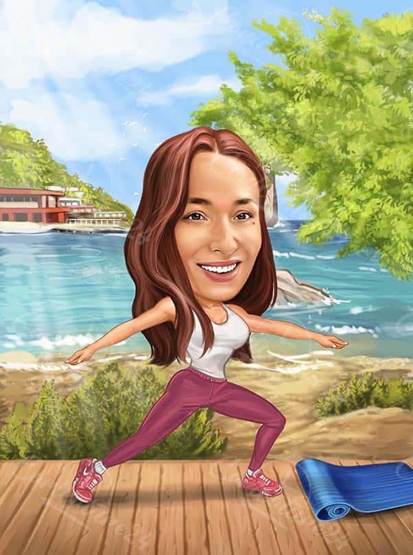 Карикатура за жена в йога поза