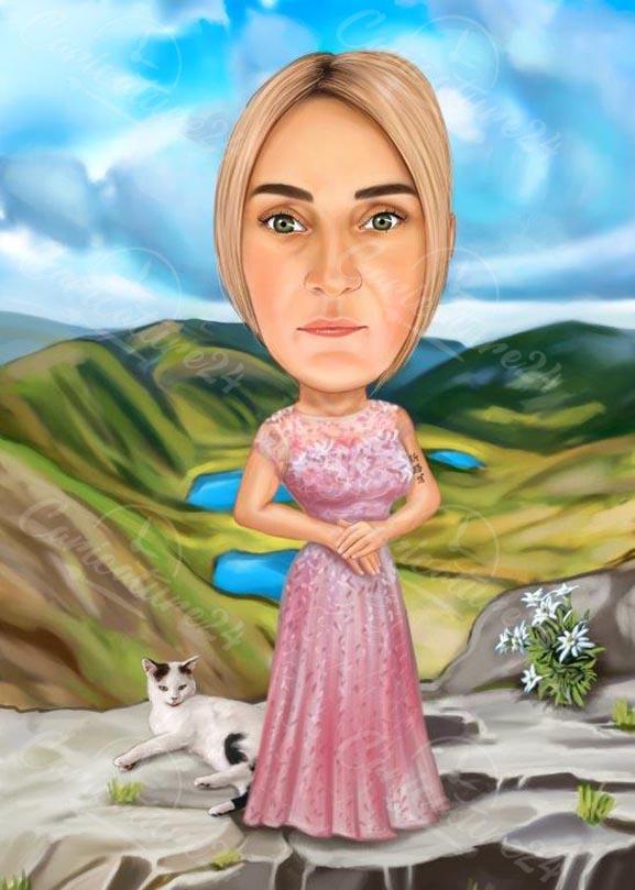 Карикатура жена на Рилските Езера